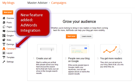 New Feature In Blogger: AdWords Campaign