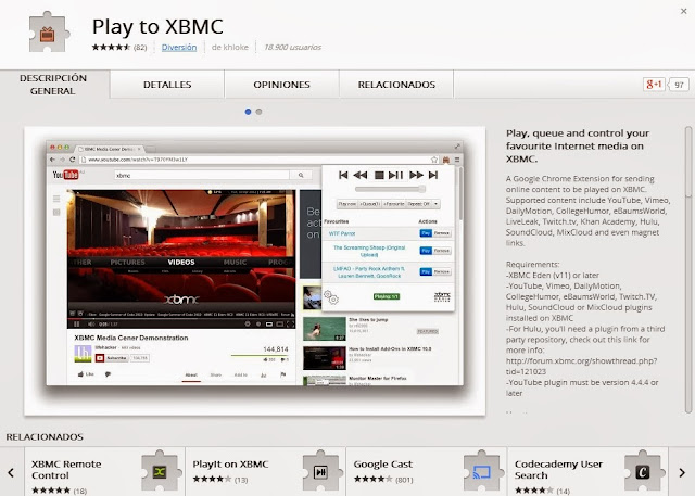 Extension PLAY TO XBMC Chrome