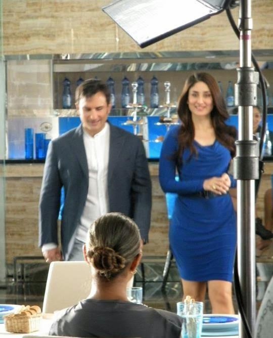 Saif-Kareena :Saif-Kareena Shooting For An Advertisement On Sets Pics in HD