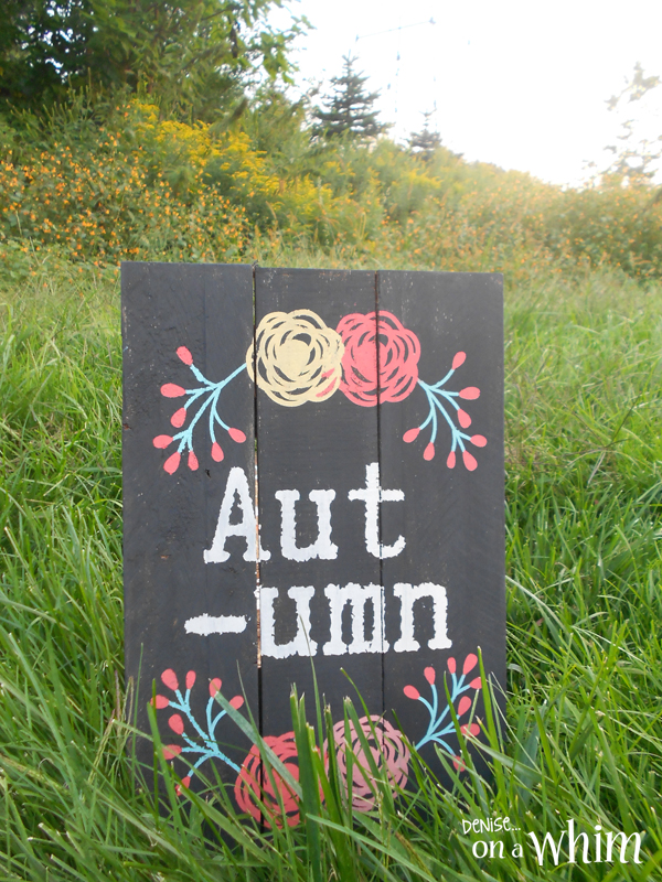 Pops of Color on an Autumn Pallet Sign from Denise on a Whim