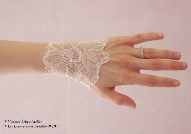 bracelet manchette en dentelle de Calais pour mariage création Vanessa Lekpa