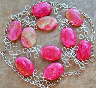 Candy store: sterling silver, Rhodonite, wire wrapping, necklace :: All Pretty Things