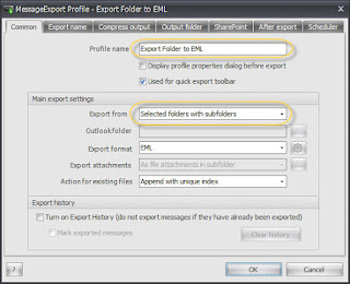 MessageExport Profile editor