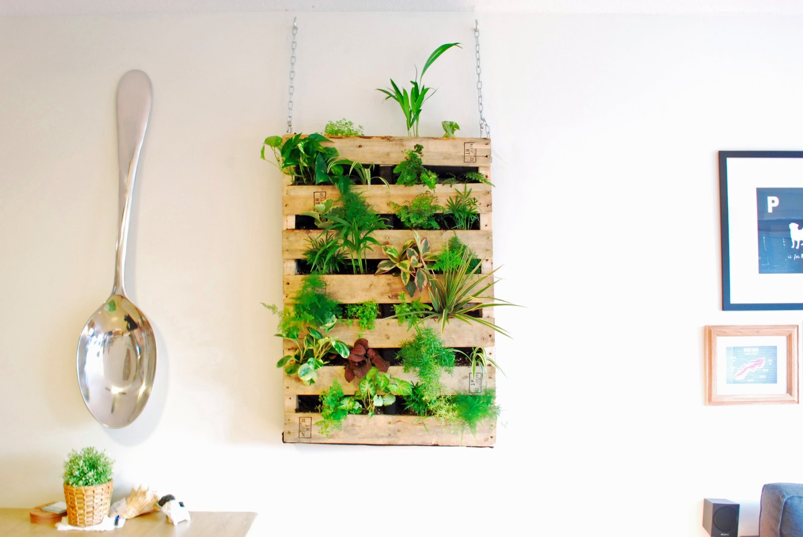 The brew diy pallet living wall Indoor living wall herb garden