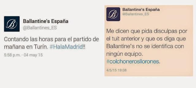 El Community Manager de Ballantine's la lía con su #colchonerosllorones