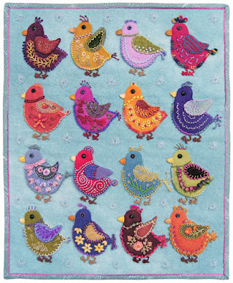 Chicks, a wall quilt by Robin Atkins, embroidery on wool applique