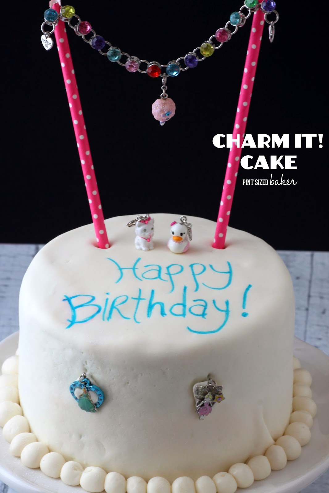 "It's a ""Charmed"" Birthday cake! An easy Birthday Cake adorned with a CHARM IT!  bracelet and charms. @pintsizedbaker @charmit"