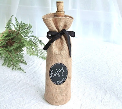 jute / burlap wine gift bag