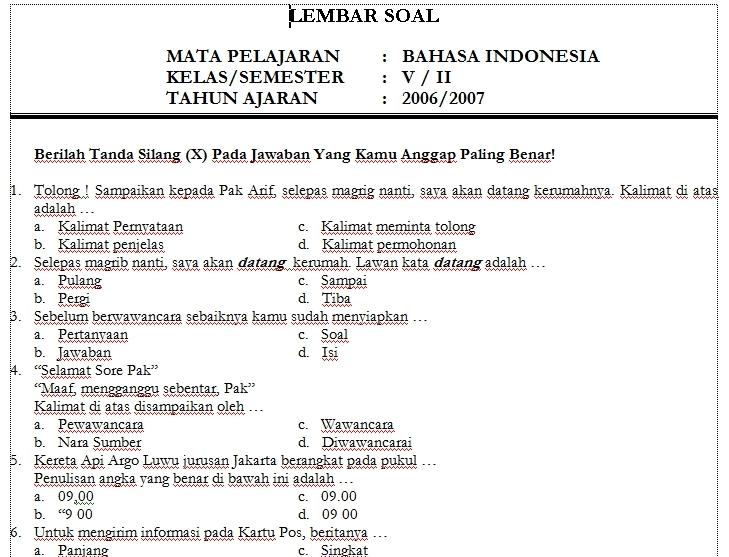 Soal Ujian Bahasa Indonesia Mid Semester Genap Kelas 3 Sd Newhairstylesformen2014 Com