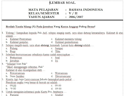 Download Soal Bahasa Indonesia Kelas 5 SD Semester 2 Genap