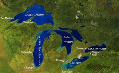 Labelled Great Lakes Map from Satellite