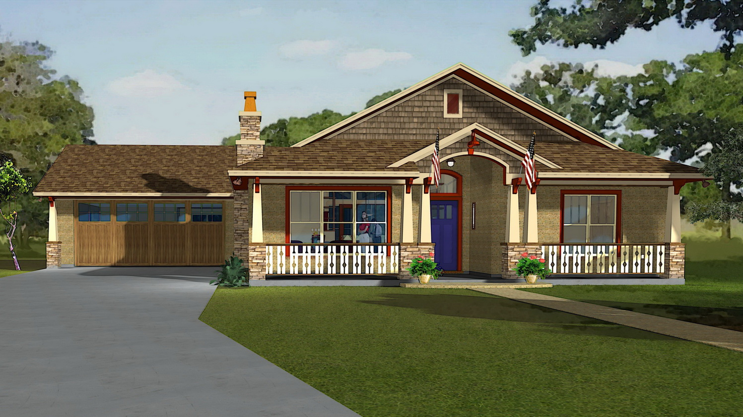 Old craftsman style bungalow home plans color small house for Old style craftsman house plans