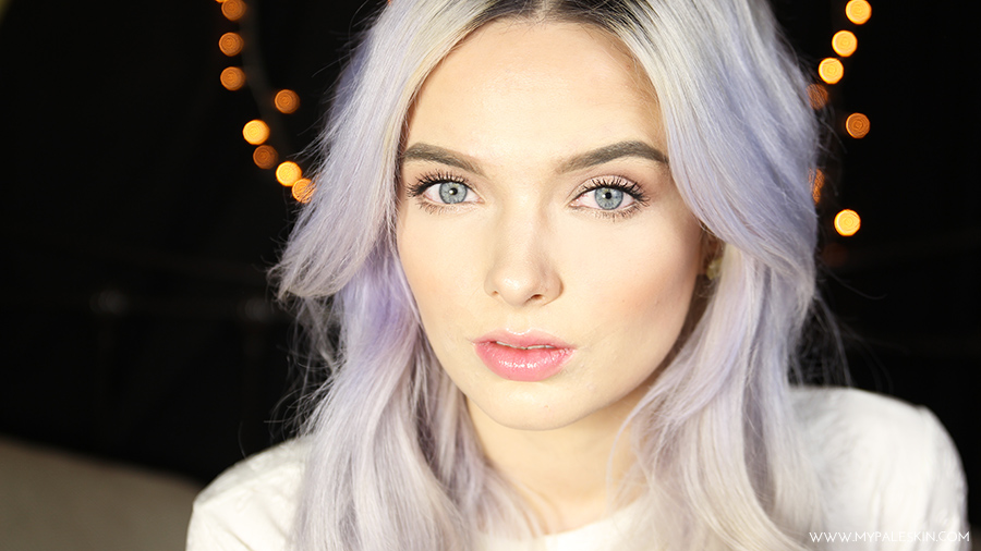 Everyday make up, pale skin, lilac hair, tutorial, step by step, my pale skin, em ford, cover acne, cover spots, pale make up, fair skin, lilac hair, silver hair, pastel hair, blogger