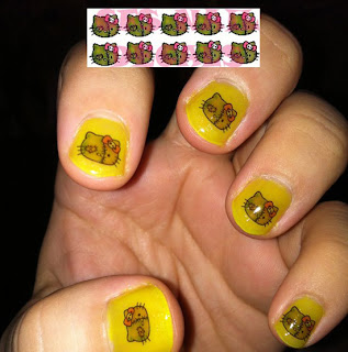 Yellow Hello Kitty Nail Art
