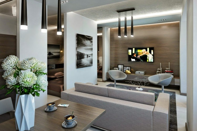 Apartment lighting gray walls: led ceiling lights modern interior ...