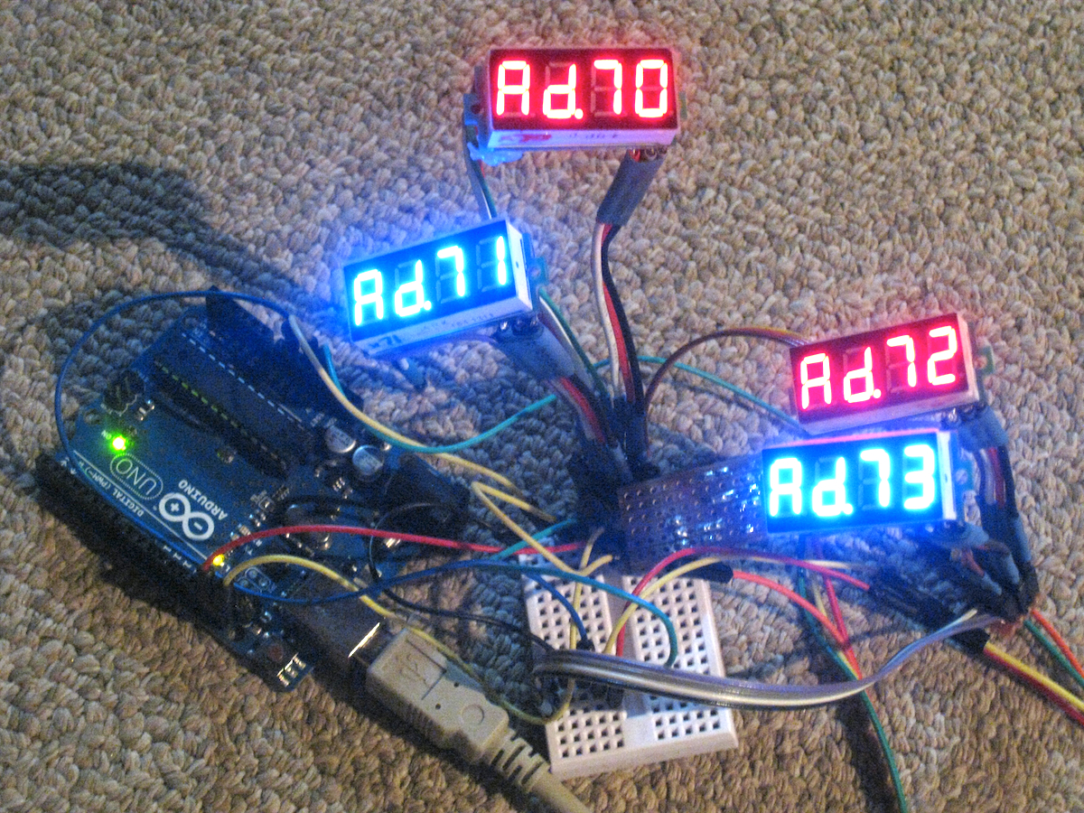Magic Smoke I2c Led Display From Hacked Voltmeter Schematic Voltmeters Are A Cheap Source Of 7 Segment Displays And Can Easily Be Repurposed Using The Protocol Master Microcontroller Such As An Arduino
