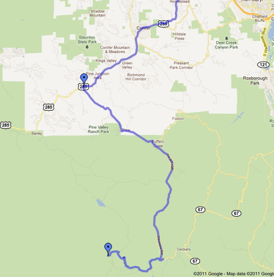 broad zoom showing the path from denver to the wigwam trailhead located west of the town of deckers lost creek wilderness pike national forest