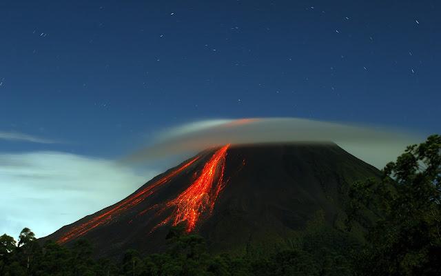 Volcano and blue sky