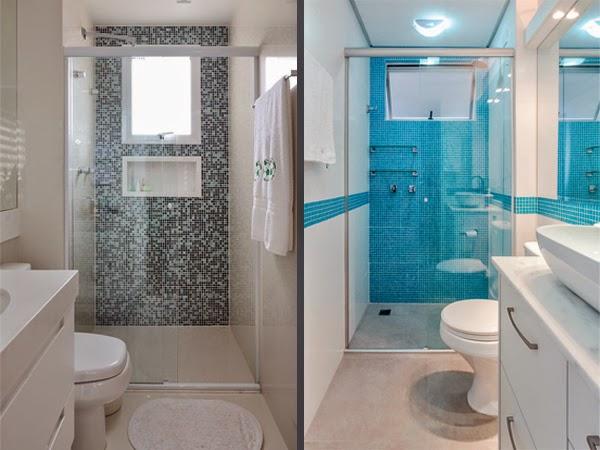 Banheiros Pequenos 5 Dicas + Inspiração Decor  Blog Estilizada -> Banheiro Pequeno Com Pastilhas De Vidro