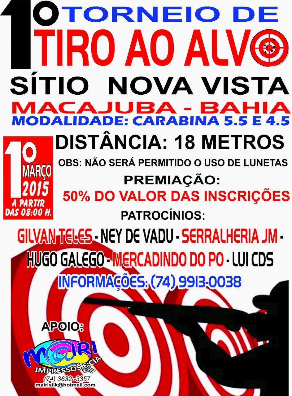 1º Torneio de tiro ao alvo no Sitio Nova Vista em Macajuba dia 1 de Março