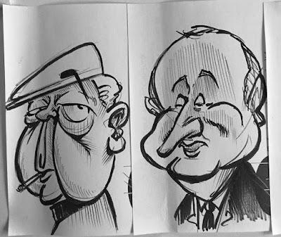 Croquis rapides des deux prochaines caricatures de Patrimoine Normand. Mais de qui s'agît-il ? - Guillaume Néel ©