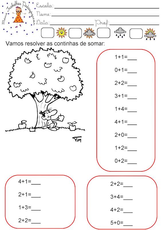 Atividades De Matematica Para O Primeiro Ano Iniciando Contas De Somar