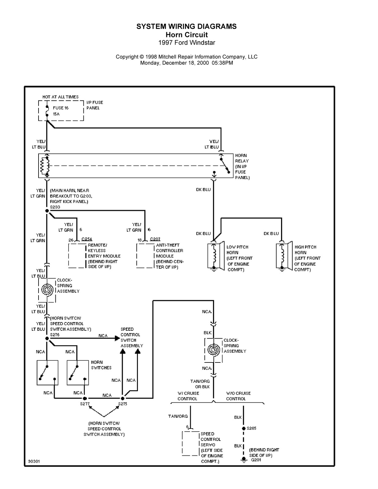 Complete System Wiring Diagrams 1997 Ford Windstar Fuse Diagram 2003 Pcm Location