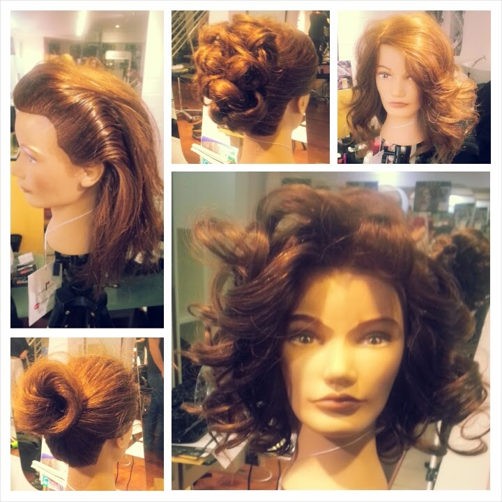 My designs on my dolly head at the session inspirations workshop with Mark Woolley from Electric Hair