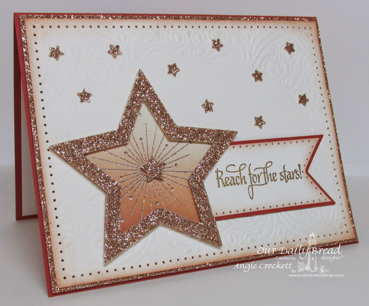 ODBD Reach for the Stars, ODBD Custom Sparkling Stars Dies, Vinatage Flourish Pattern Dies, Winter Collection Designer Paper, Card Designer Angie Crockett