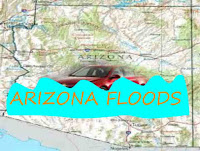 Graphic by Erika Grey of a car submerged in waters with Arizona Floods written across the graphic with a Map of Arizona in the background