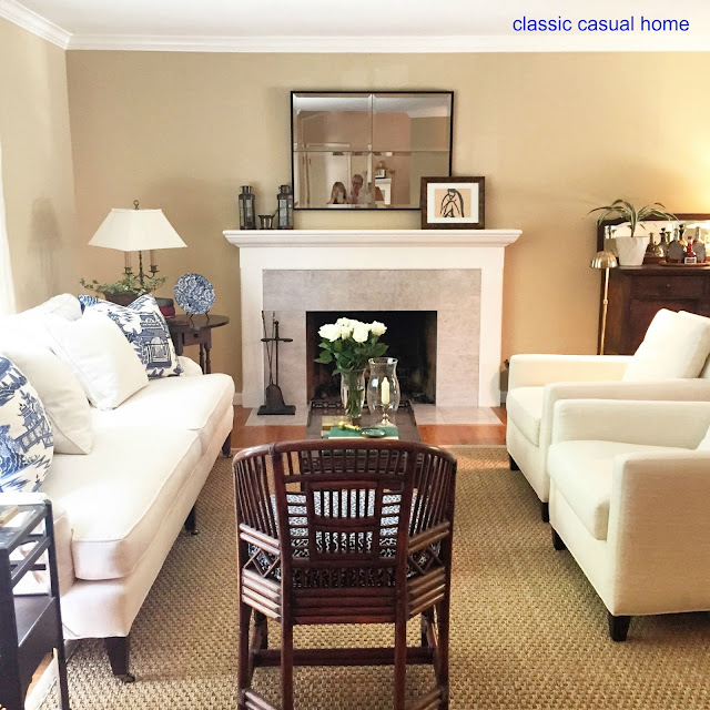 Classic Casual Home Classic Blue And White Living Room And