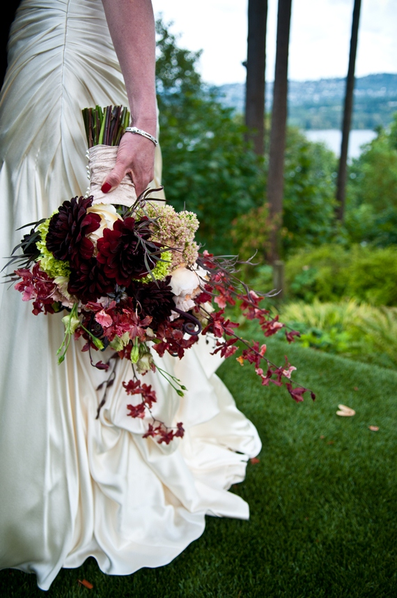We Used Lush Garden Roses, Wildcat Orchids, Chocolate Dahlias, Sedums