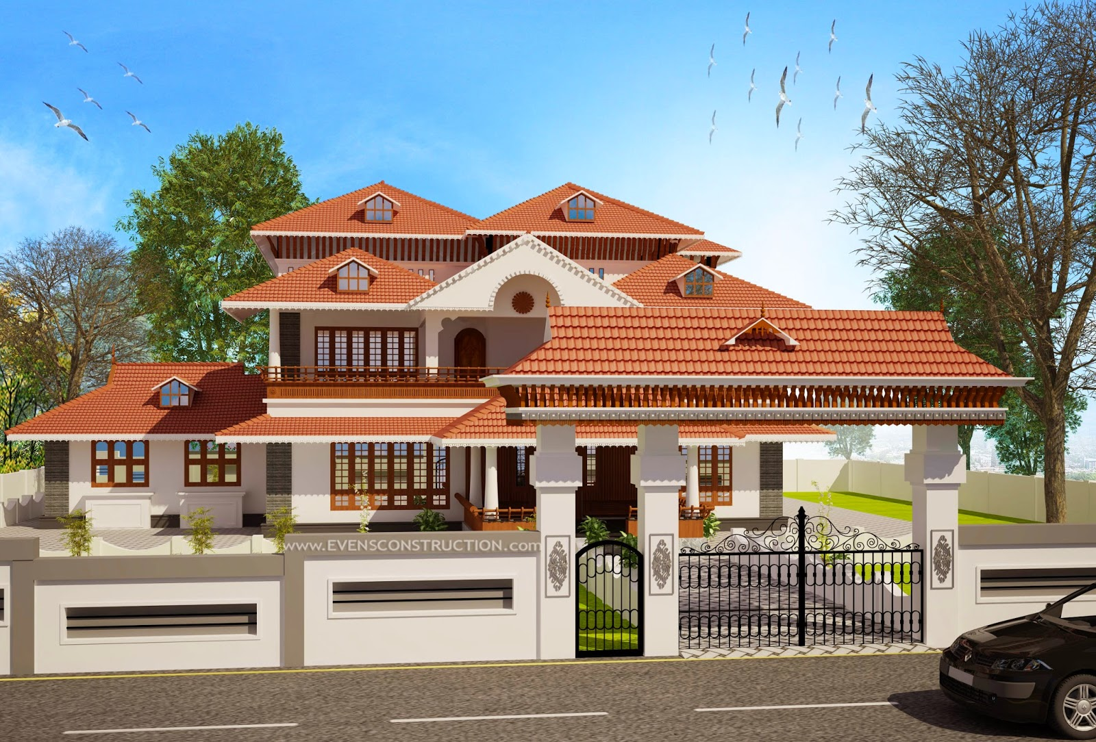 Boundary Design Of Kerala House