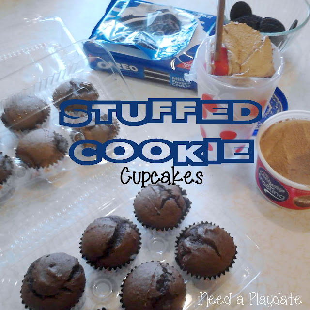 Getting ready to frost Stuffed Cookie Cupcakes