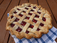 A sour cherry pie, fresh from the oven