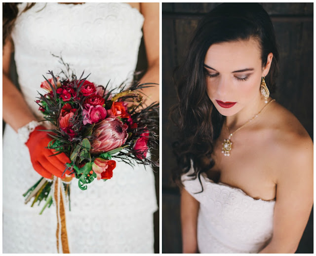 red, white and gold wedding fashions, winter bridal bouquet