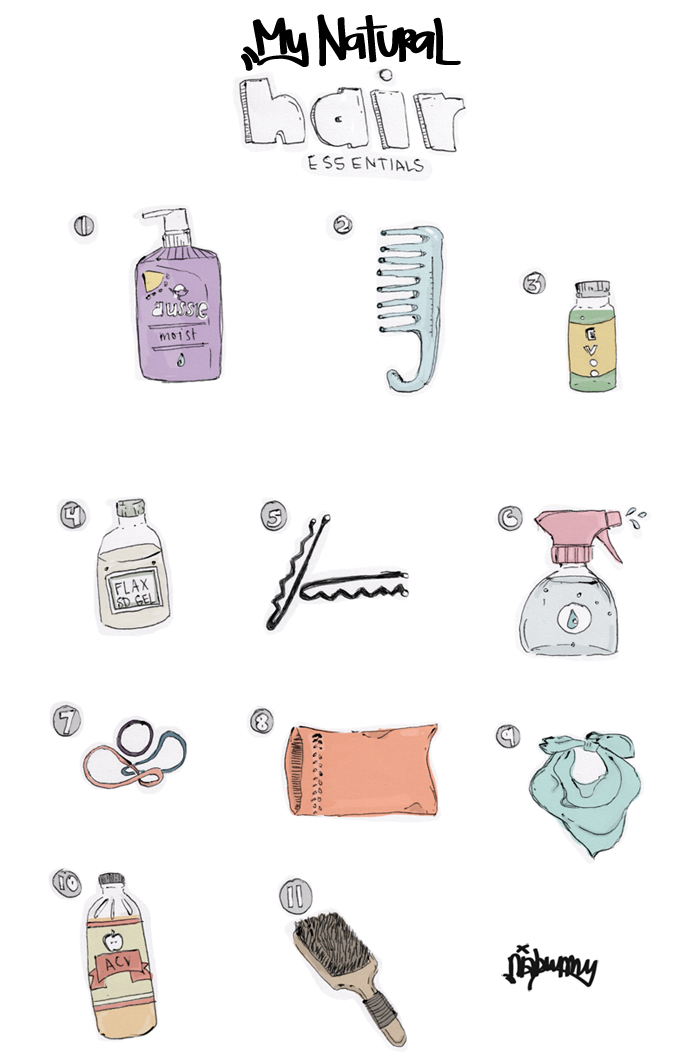 natural hair essential products illustration