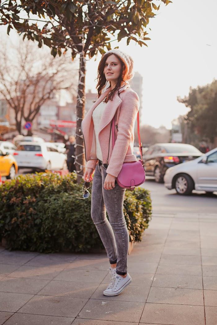 STRADIVARIUS pink baker jacket (similar.
