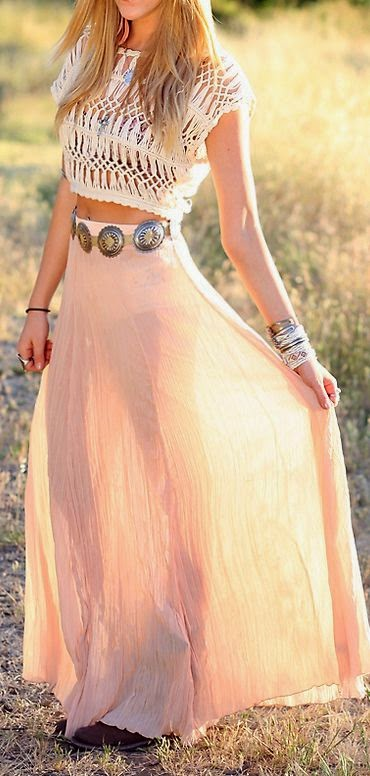 Boho style maxi skirt and lace top fashion