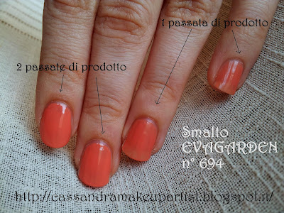 Smalto EVAGARDEN Long Lasting n° 694 - sea water resistant - glossy box luglio 2012 - swatch