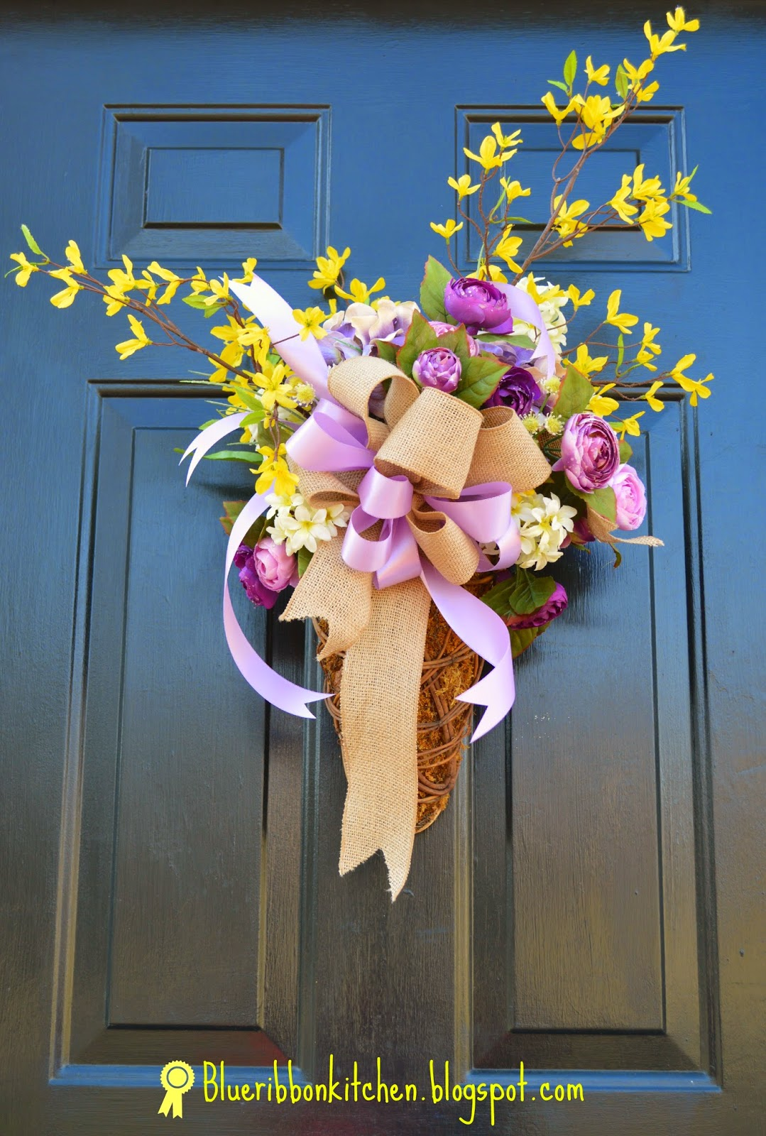 I Used A Door Basket With Chicken Wire, Green Moss Yellow Forsythia  Branches (those Forsythia Are So Spring Y To Me) Contrasted With Purple And  Pink ...