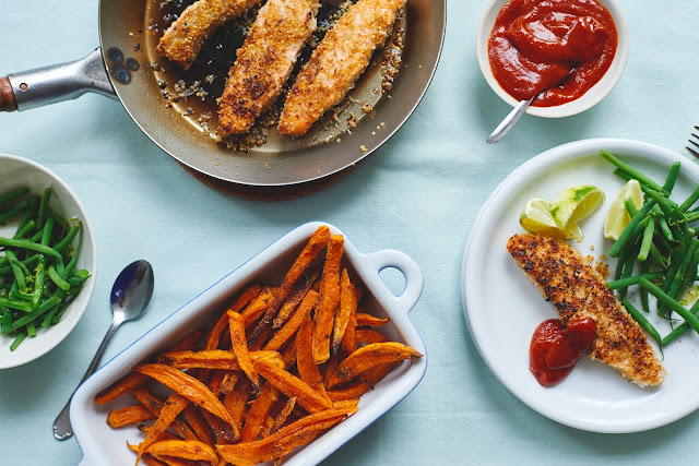 Coated Salmon Fingers with Sweet Potato Chips and Spicy Tomato Sauce ...