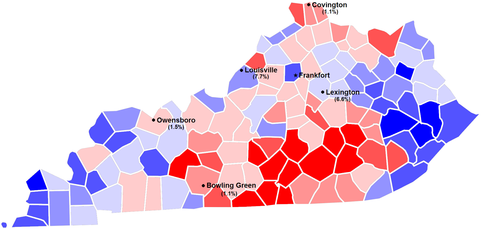 1996 presidential election in kentucky by county and margin