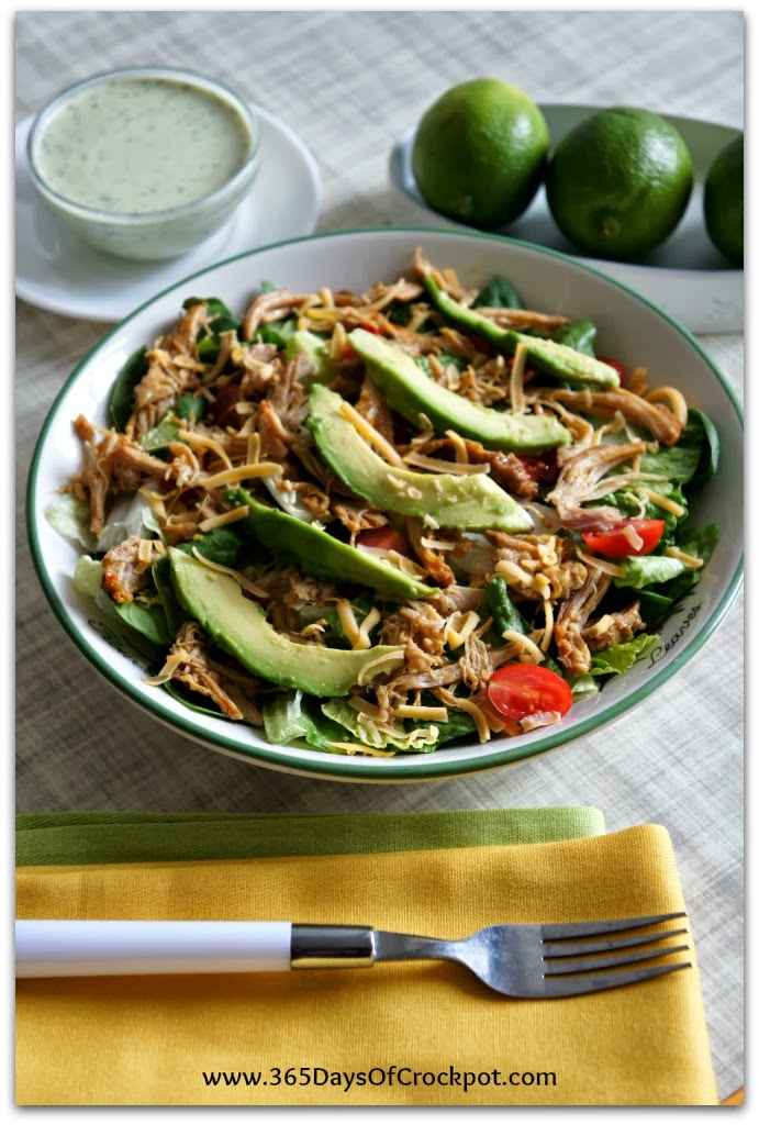 Recipe for Slow Cooker Chicken Rio Salad with Tomatillo Ranch Dressing #copycat #slowcooker #easydinner #crockpotrecipe