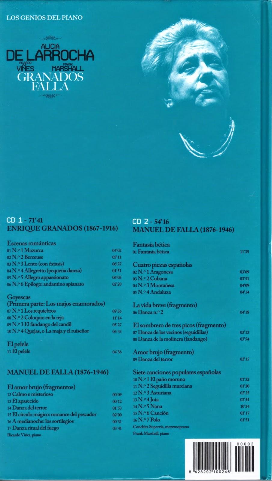 Imagen de Colección Los Genios del Piano-02-Alicia de Larrocha, Ricardo Viñes, Frank Marshall & Granados y Falla-trasera