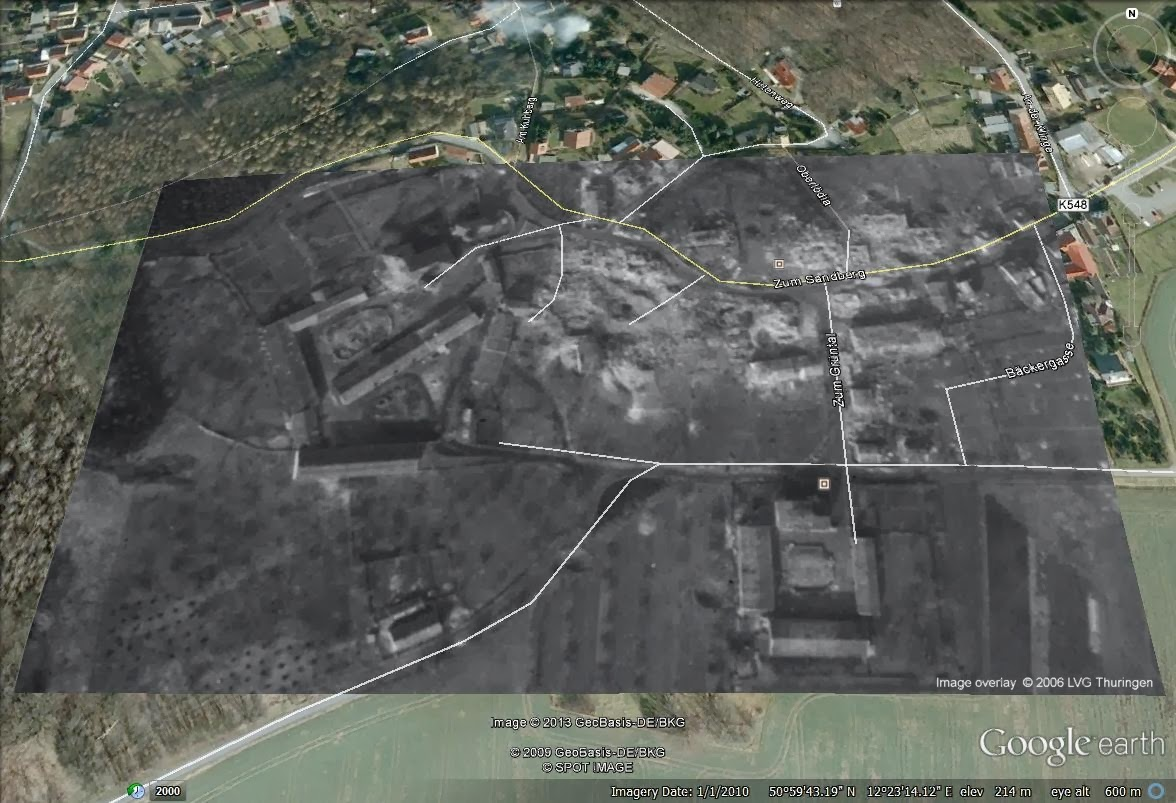1945 aerial photo superimposed on 2009 aerial photo.