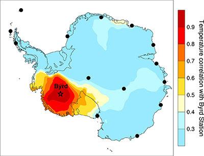 évolution des températures entre 1957 et 2010, indiquant un réchauffement plus important que prévu de la partie occidentale de l'Antarctique
