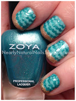 Zoya Zuza, Beach Themed nail art, No-Miss Gainsville green, Mineral Fusion nail polish Glimmer, Peace-Keeper nail polish Paint me Patient, golden glitter sands, teal waves, wave mani, dotting tool wave technique, big 3 toxin free, big 5 toxin free