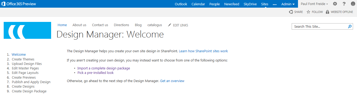 office 365 sharepoint 2013 design manager convert html