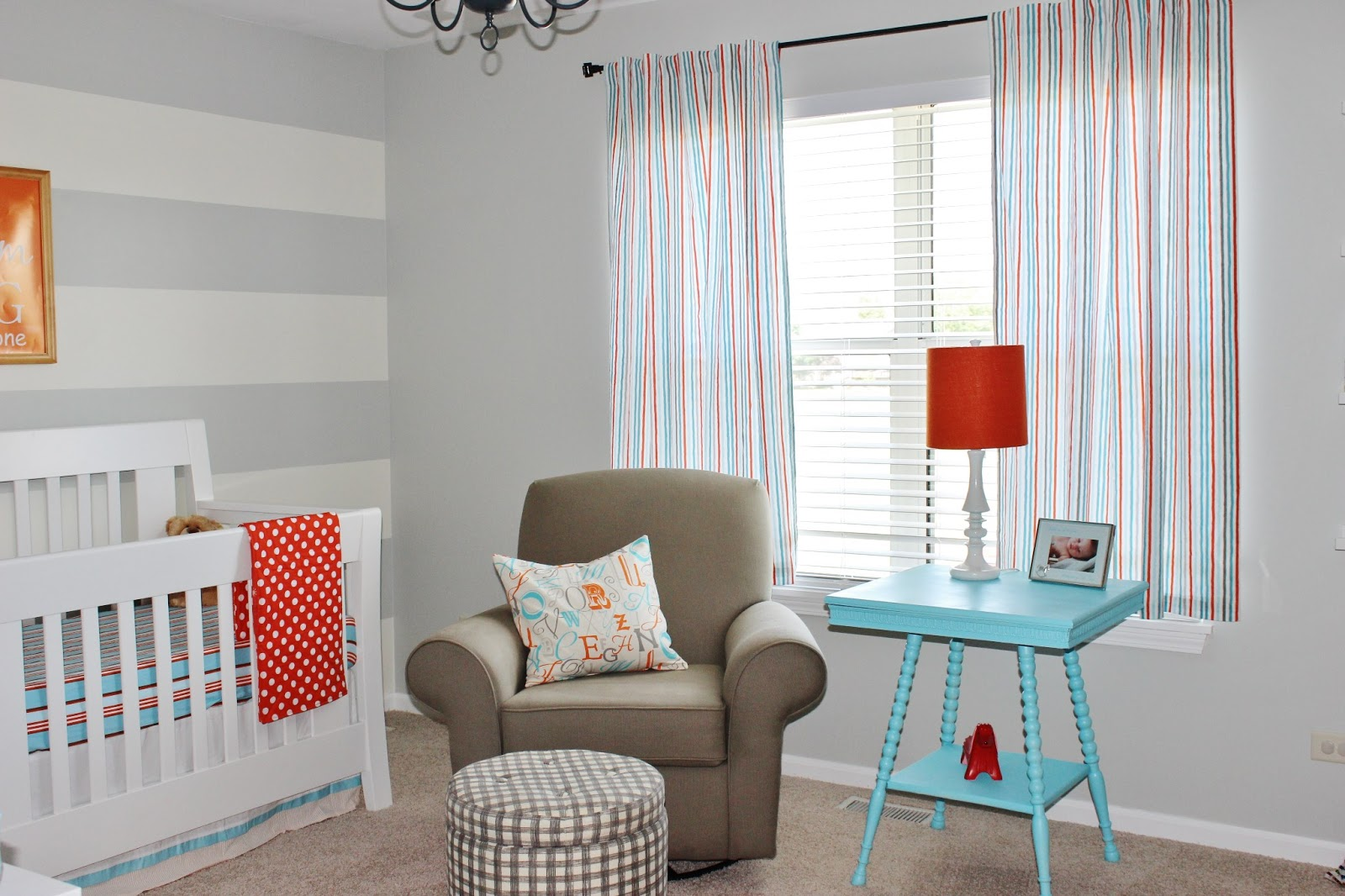 Finally! Our Baby Boy\'s Aqua, Orange, & Grey Nursery Reveal ...